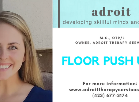Floor Push Ups with: Kelley Howe, M.S., OTR/L Owner, Adroit Therapy Services