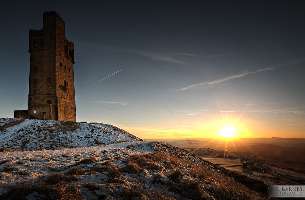 Castle Hill in Huddersfield at Sunset