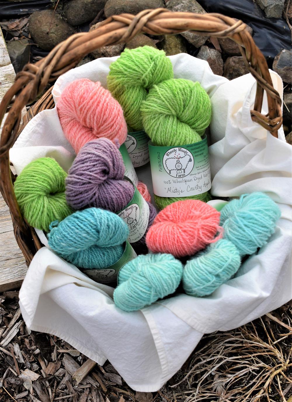 100% Wheelspun Yarn from Wheely Wooly Farm Spring