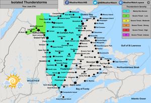 Thunderstorm Forecast, for New Brunswick. Issued June 27th, 2019.