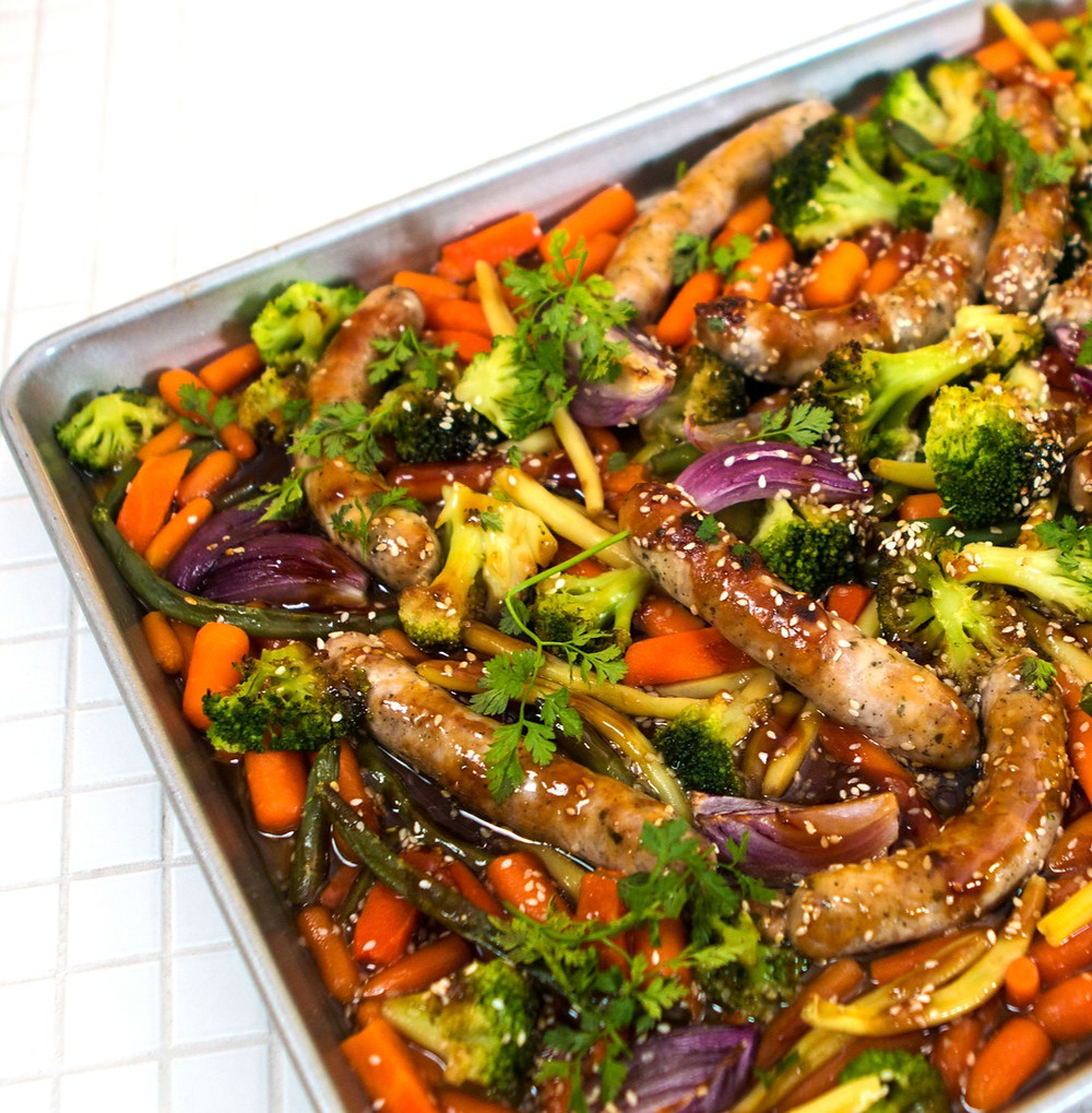 daržovės su dešrelėmis ir terijakio padažu, greita vakarienė, greiti pietūs
