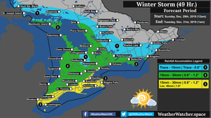 Rainfall Forecast, for Southern Ontario. Issued December 29th, 2019.