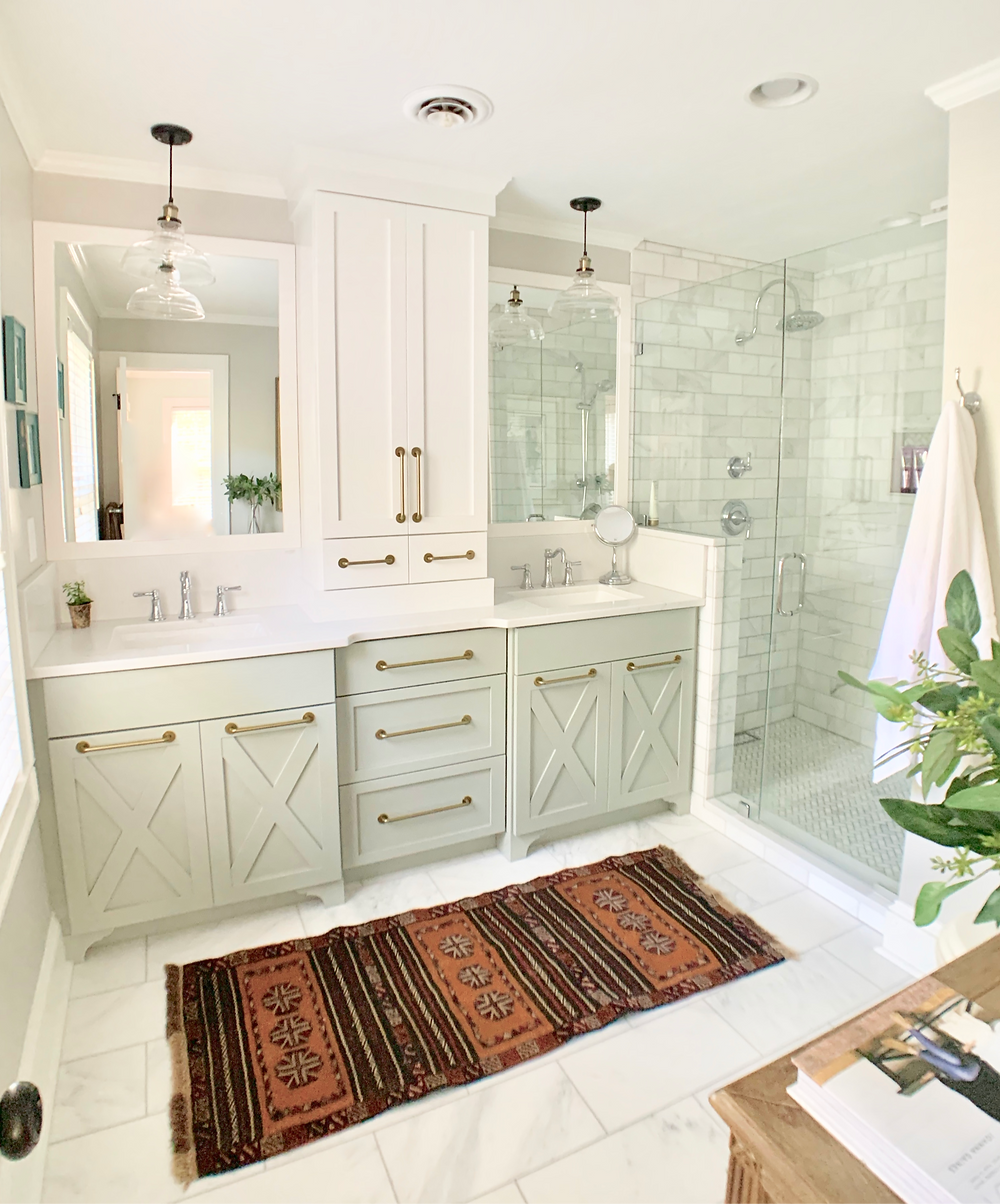 Master bath, cabinetry, modern farmhouse, walk in tile shower, carrera marble, pendant lights, double vanity, repose gray paint