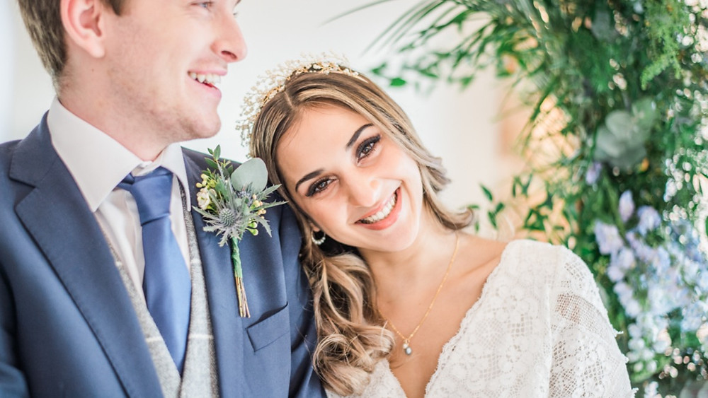 Beautiful light and airy wedding photography of newly married couple at wedding shoot in Essex.