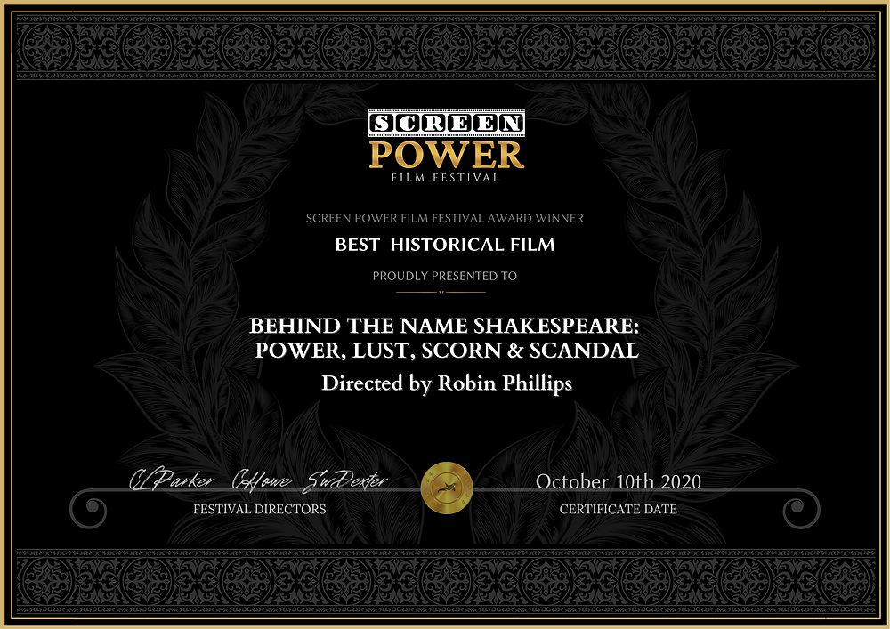Film Award presented to Behind the Name SHAKESPEARE: Power, Lust, Scorn & Scandal.