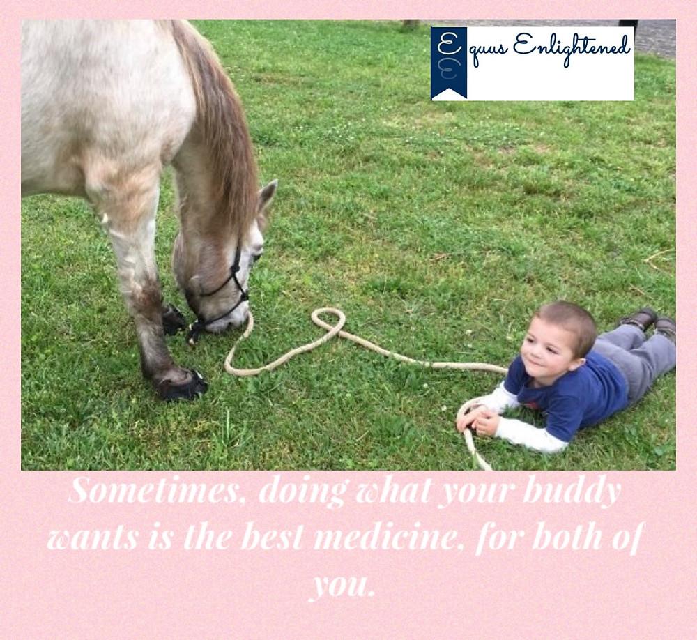 Mav hanging with his pony Carson.