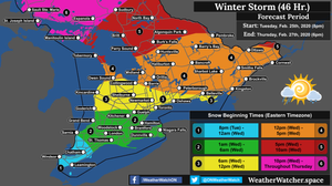 Snow Beginning Timeframe Forecast, for Southern Ontario. Issued February 25th, 2020.