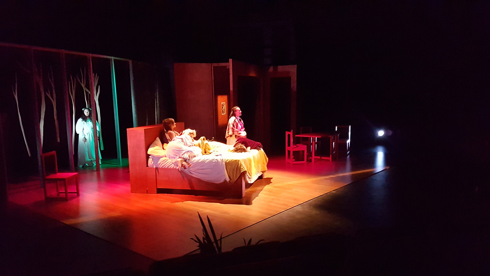 Stage photo of Modern Girls In Bed - by Cherie Jacobson and Alex Lodge. Circa Theatre 2018 LIGHTING DESIGN: LISA MAULE. mage L Maule