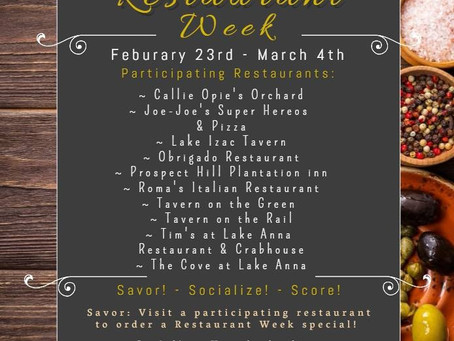 Lake Anna VA Restaurant Week 2018