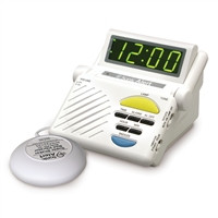 White Amplified Digital Alarm Clock by Sonic Boom