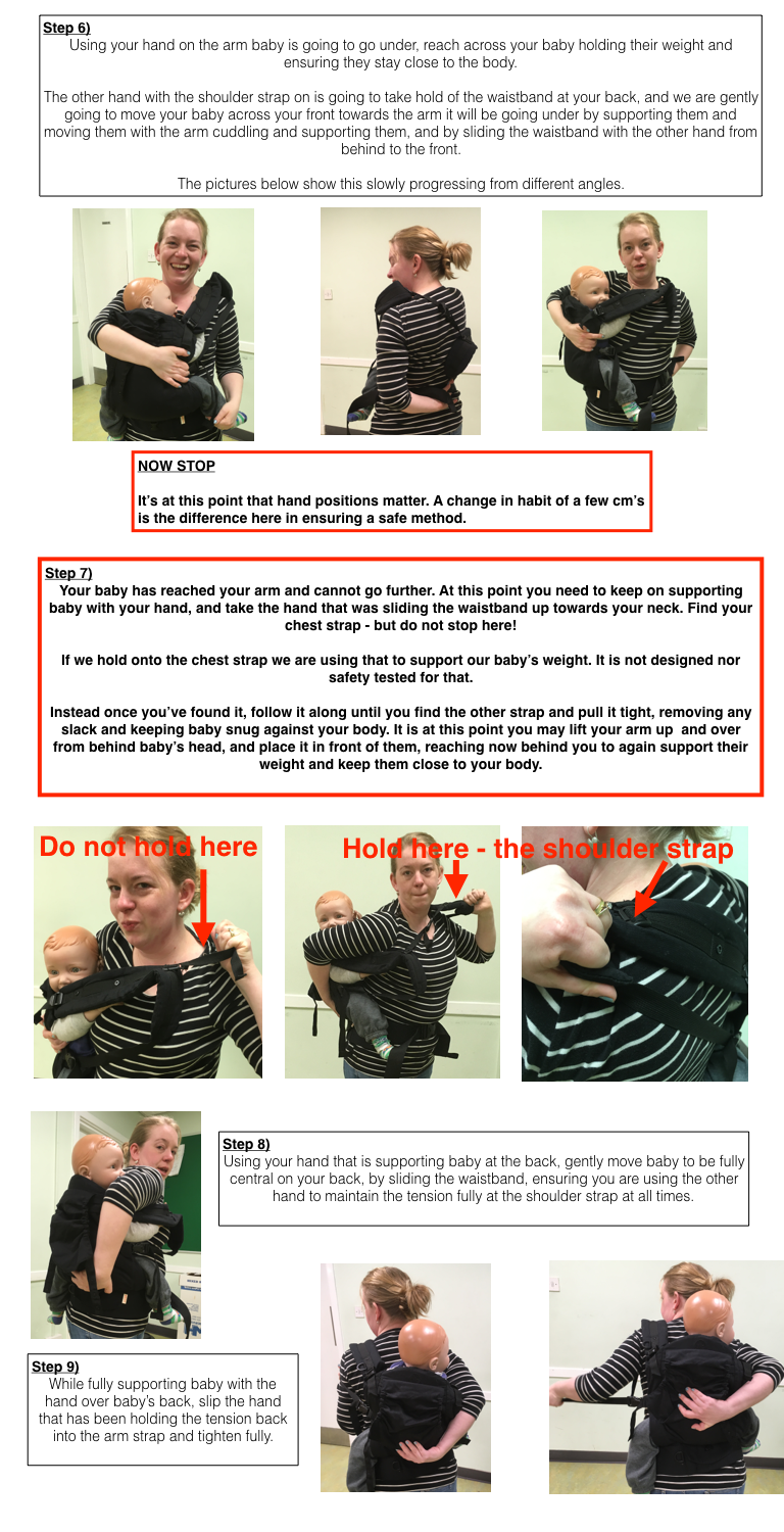 Photo Tutorial showing a secure method of back carrying.