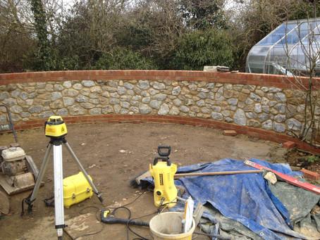 A ragstone garden wall