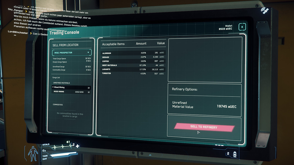 19, 745 aUEC  Laranite -  Borase  - Copper &  Tungston  only 67% inert  and all in -  Yela  AB out from OM4 towards Crusader