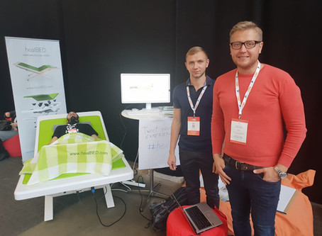 healBED vibroacoustic therapy bed at TechBBQ Copenhagen 2018