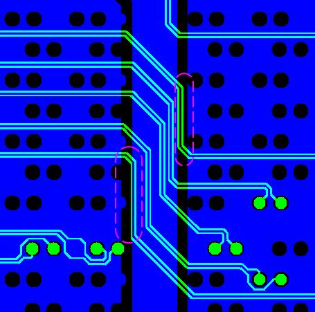 Рис.3 Пример некорректного экранирования (отсутствие опорного слоя) для отдельных участков дифф-пар, обнаруженного при просмотре Gerber-файлов перед заказом производства платы (пакет CAM350).