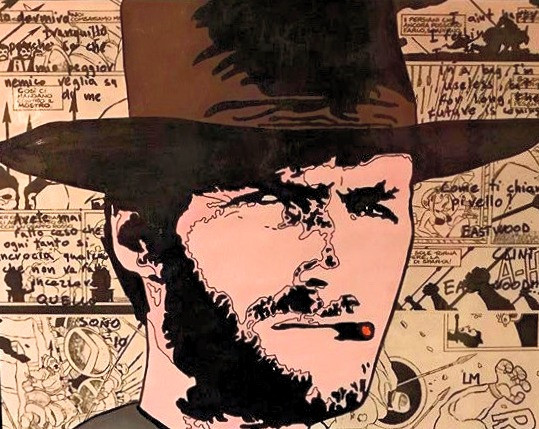 Luca Marchini's artwork illustrating a young Clint Eastwood