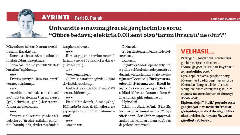 Ferit Parlak, Dünya Gazetesi Yazısı