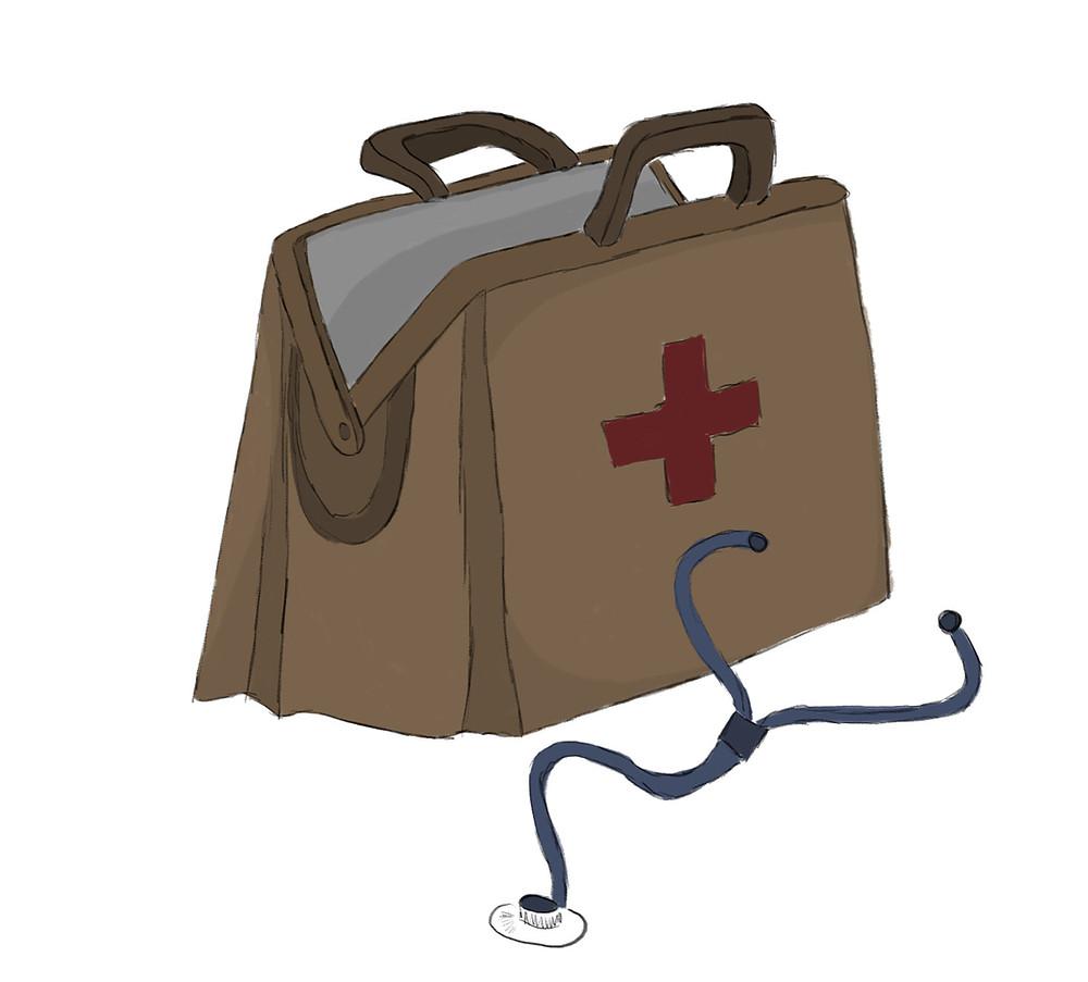 geöffnete Arzttasche mit Stetoskop davor