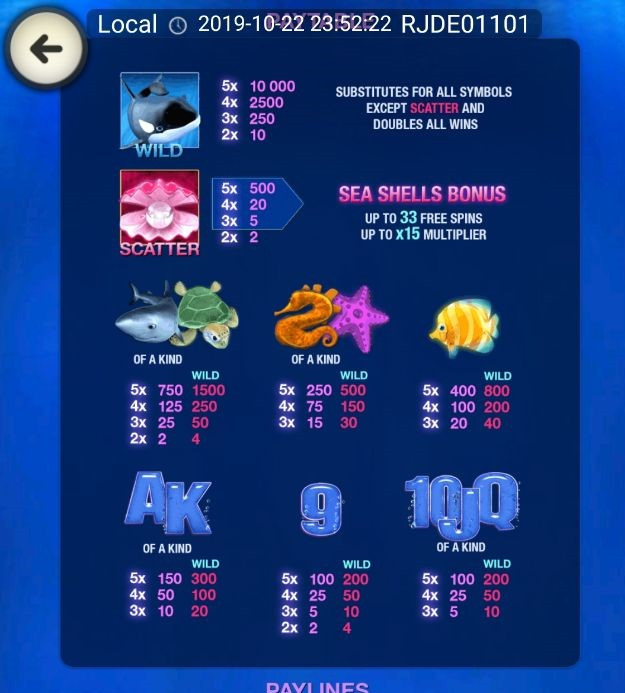 Great Blue slot symbol and payout