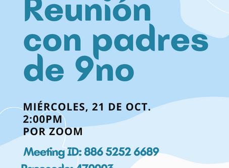 Recordatorio: Reunión de padres de 9no Grado