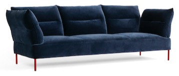 HAY Panderine sofa in dark blue velvet with red legs