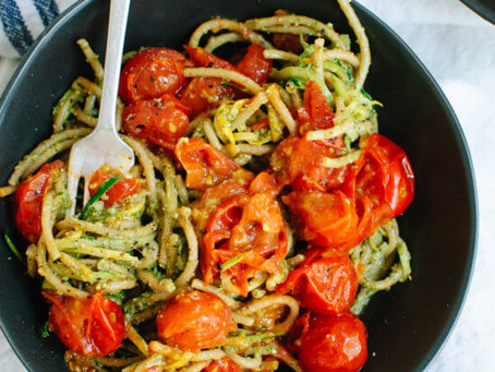 Pesto Squash Noodles and Spaghetti with Cherry Tomatoes