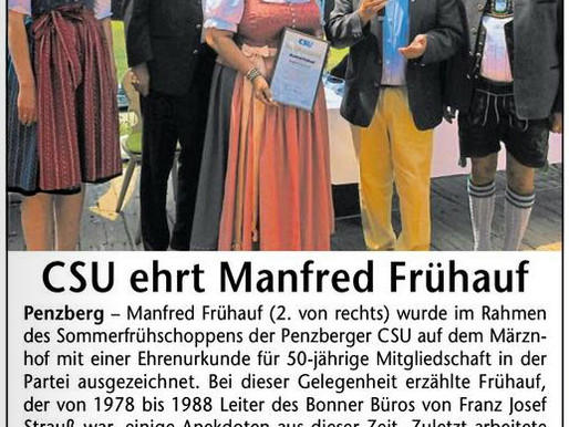 Das Gelbe Blatt: CSU ehrt Manfred Frühauf