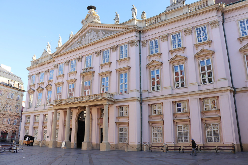 Primate's Palace pink building in old town Bratislava Slovakia