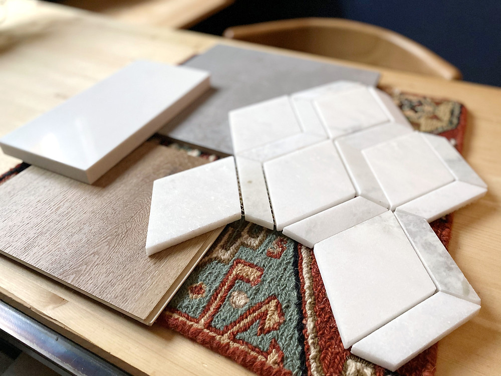 geometric white marble tile