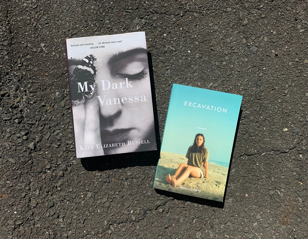 My Dark Vanessa by Kate Elizabeth Russell (William Morrow) & Excavation by Wendy C. Ortiz (Future Tense Books). Photograph by Jessica Maria