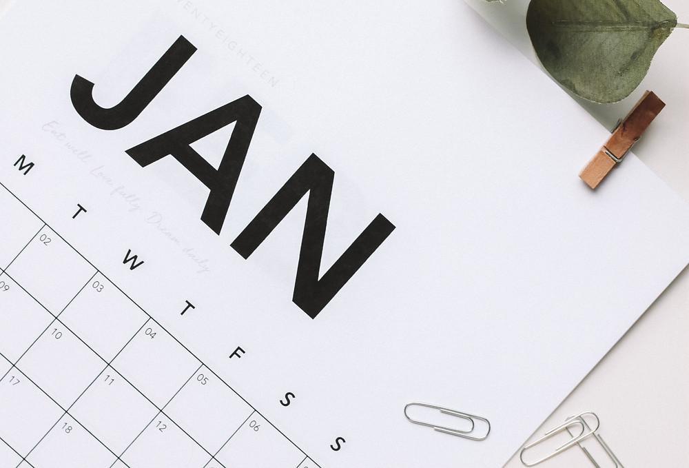 Close up of a January calendar