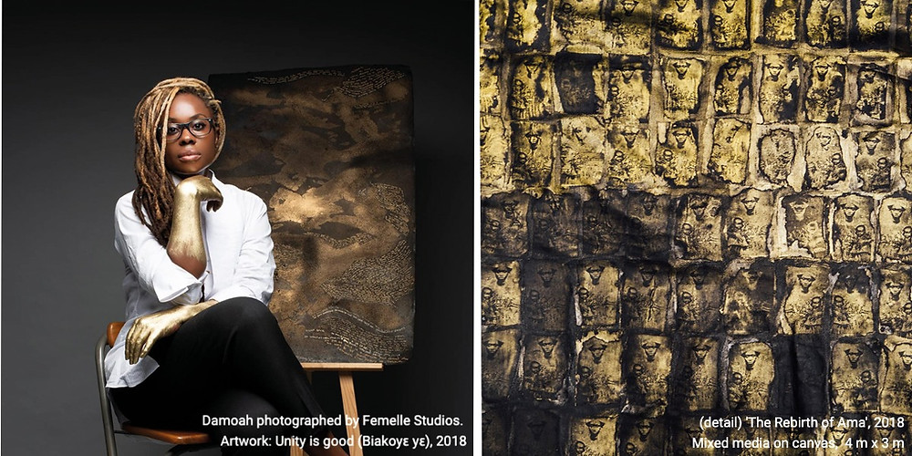 Left, Damoah photographed by Femelle Studios. Right (detail) 'The Rebirth of Ama', 2018 Mixed media on canvas,  4 m x 3 m.:Unity is good (Biakoyɛ yɛ), 2018. Right,
