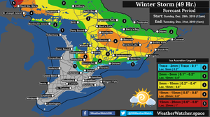 Freezing Rain Forecast, for Southern Ontario. Issued December 29th, 2019.