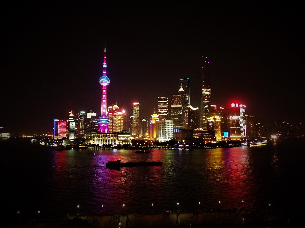 Shanghai skyline at night viewed from Fairmont Peace Hotel