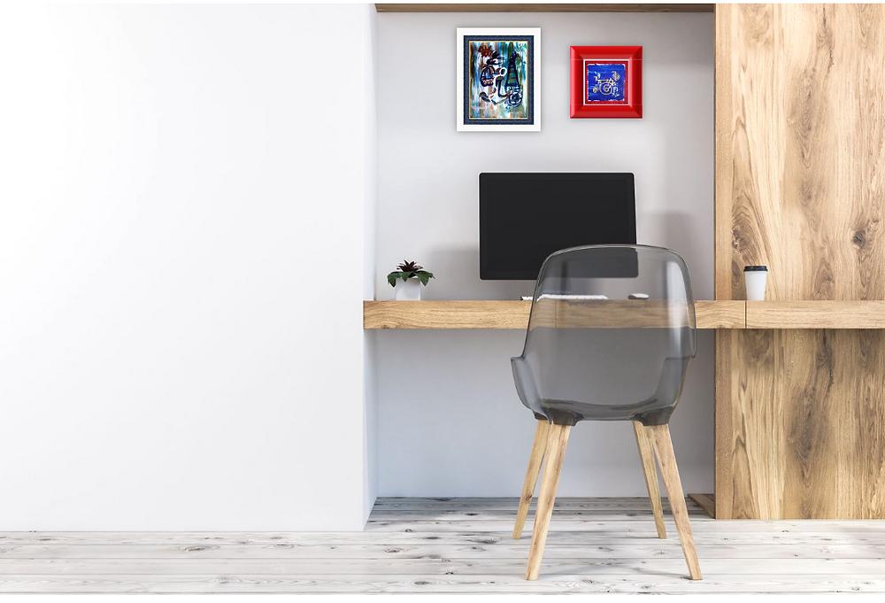 Small Reiki Feng shui art for Home office table art