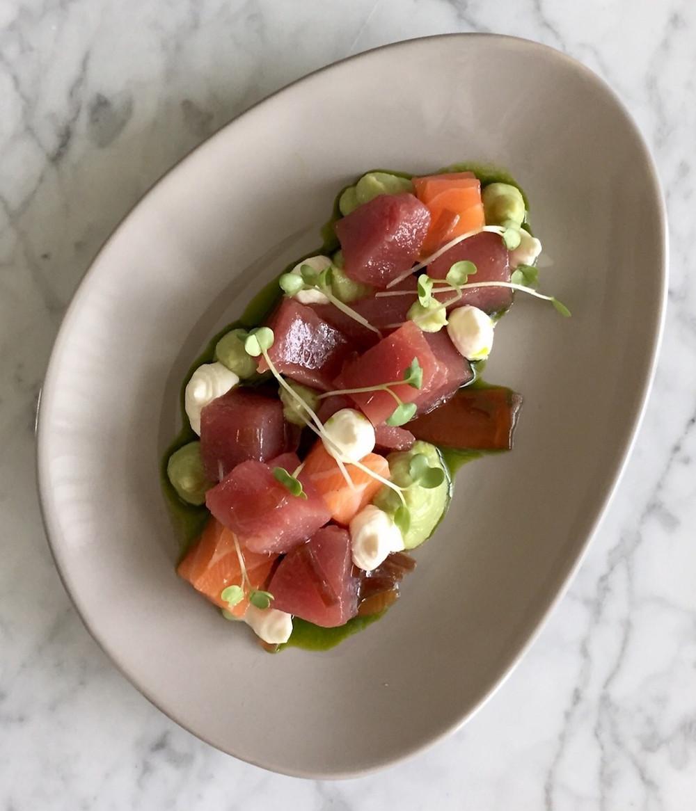 Salmon | tuna | kingfish | ponzu jelly | wasabi avocado | yuzu granita | parsley oil
