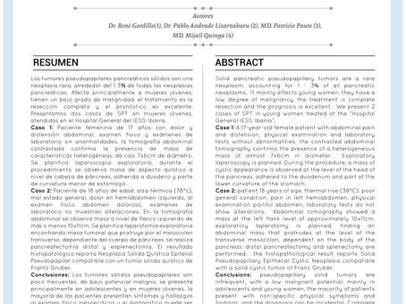 CASO CLÍNICO:  Neoplasia pseudopapilar de páncreas (tumor de Frantz Gruber): reporte de 2 casos