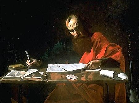 Apóstolo Pedro escrevendo suas cartas, por Valentin de Boulogne. Fonte: Wikipedia
