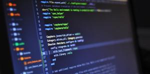 Computer screen displaying programming language text