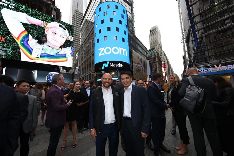 Celebrating the Zoom IPO in New York, NY.