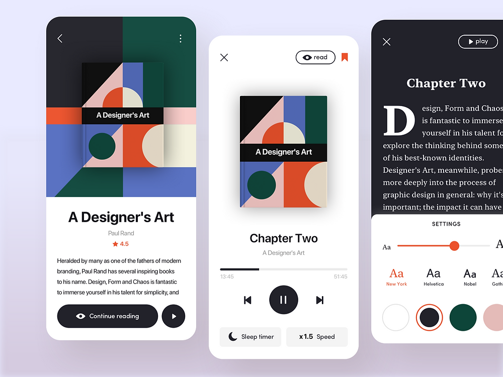 Here's the Audiobook App concept.  Listening or reading? Thankfully, this is not a one-way street: reading and listening a book can be parallel experiences! 🙌