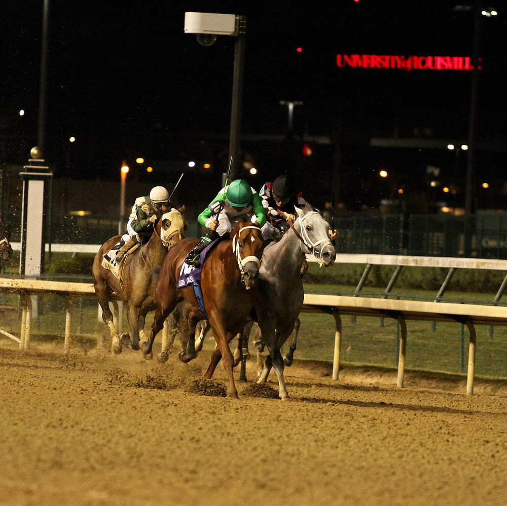 Mocito Rojo and Silver Dust. Stretch Duel. Horse Racing. Lukas Classic Stakes. Stretch battle. Best stretch battles.