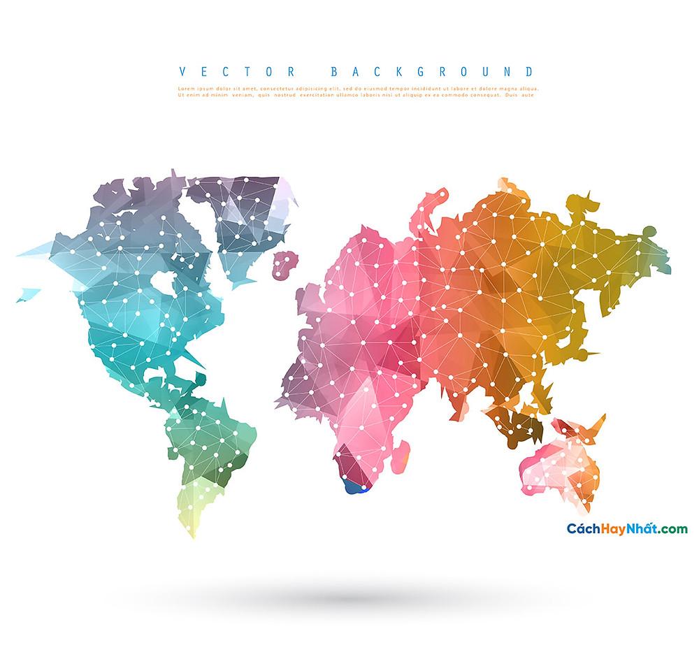 Bản Đồ Thế Giới polygon world map