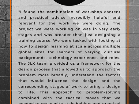 A testimonial for the Jackrabbit LX workshops