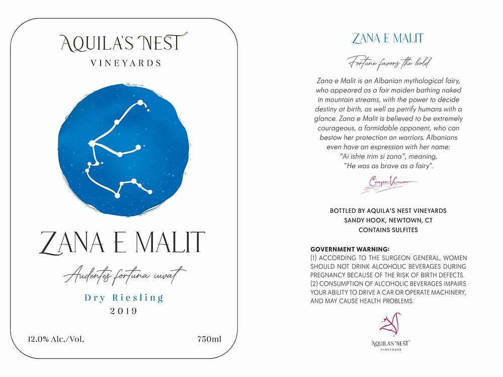 Aquila's Nest Vineyards Zana e Malit Dry Riesling Label