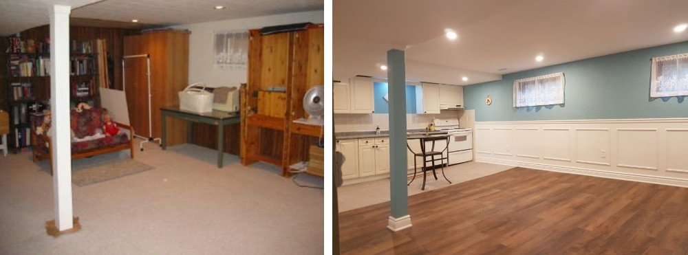 basement kitchen rec room makeover