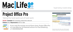 Project Office for iOS at Mac|Life 112 (March 2016) magazine. If you want to get more info on how the app work, on all its peculiarities and features, you should definitely go through this article