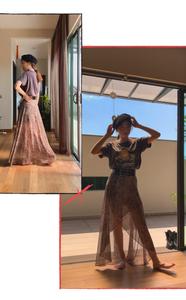 Fashion blogger models a Pampling graphic tee, AllSaints leopard print maxi skirt, and Maison Laulhère black Béret Véritable.