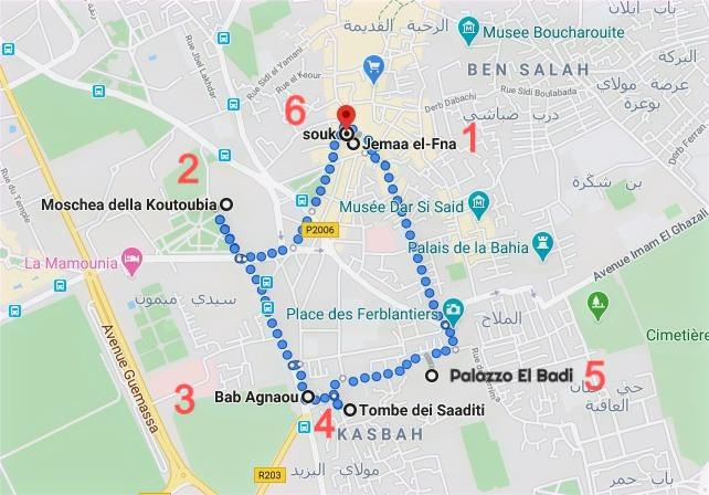 Itinerario del primo giorno a Marrakech con Google Maps