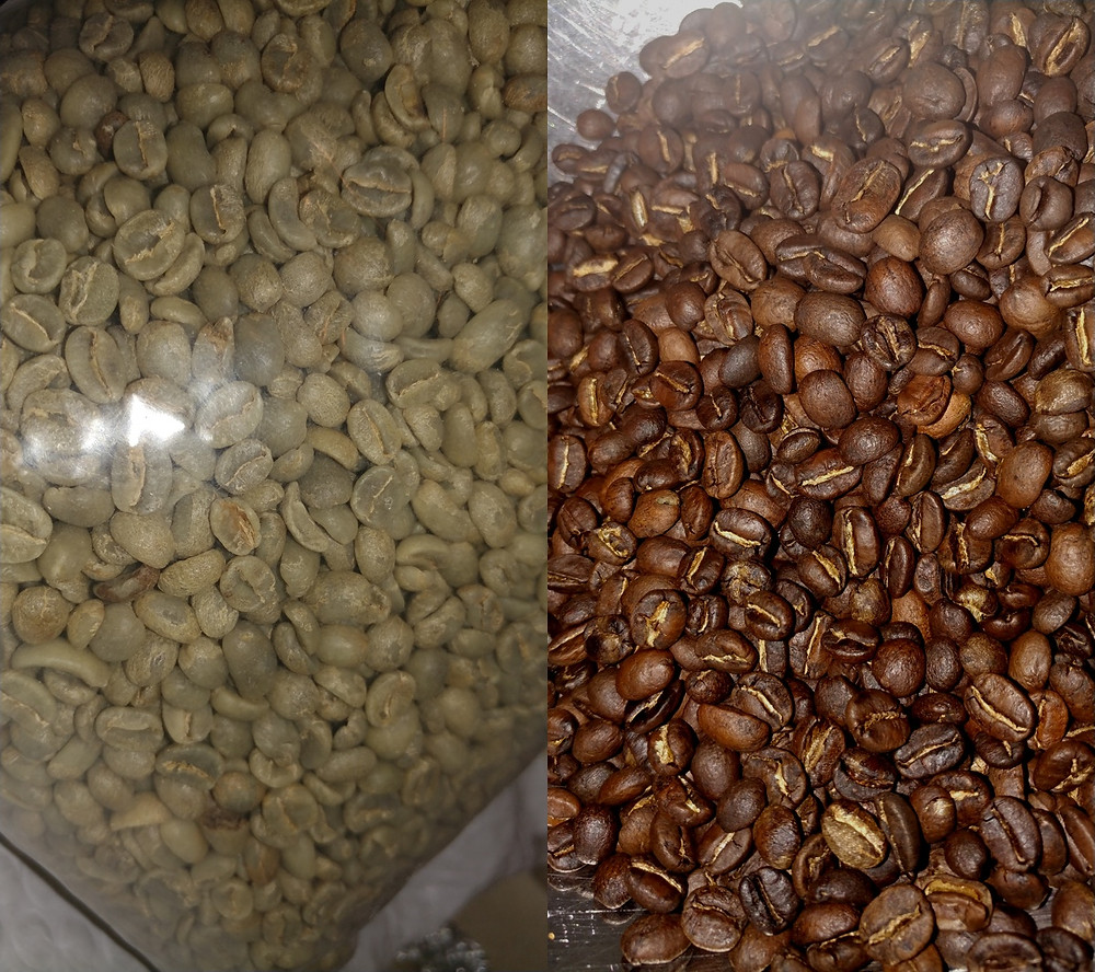 Coffee beans before and after roasting